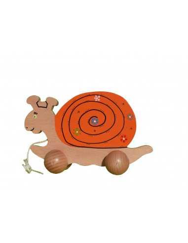 jouet en bois - Escargot à tirer